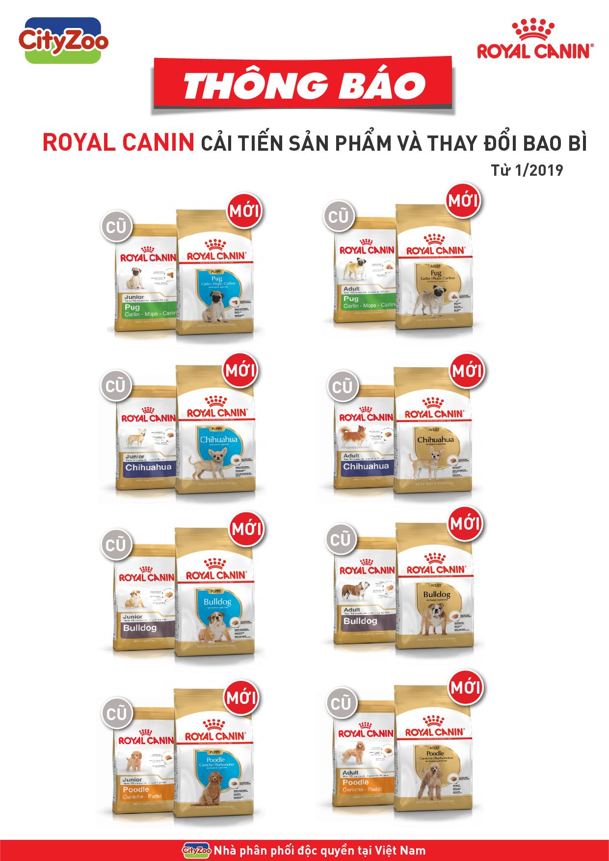 ROYAL CANIN cải tiến sản phẩm Junior thành Puppy và thay đổi bao bì sản phẩm Adult